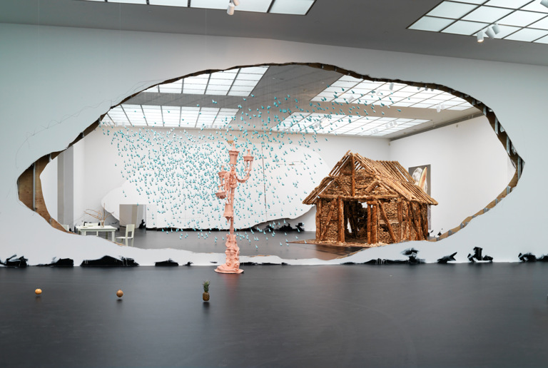 Untitled (Suspended Line of Fruit); Frozen Pioneer; Portrait of a Single Raindrop; Frozen; Horses Dream of Horses; Sodbrennen; Untitled (Bread House); Untitled (Floor Piece) 2013