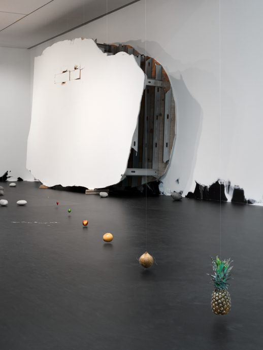 Untitled (Suspended Line of Fruit); Untitled (50 Rocks); Portrait of a Single Raindrop; Untitled (Floor Piece) 2013