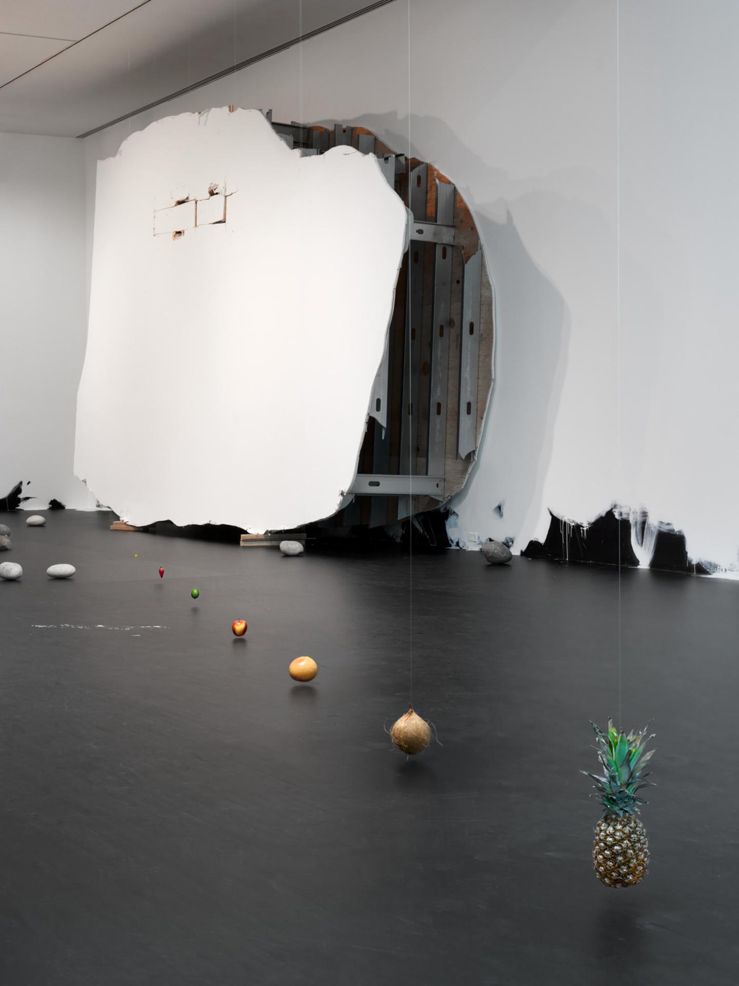 Untitled (Suspended Line of Fruit); Untitled (50 Rocks); Portrait of a Single Raindrop; Untitled (Floor Piece)