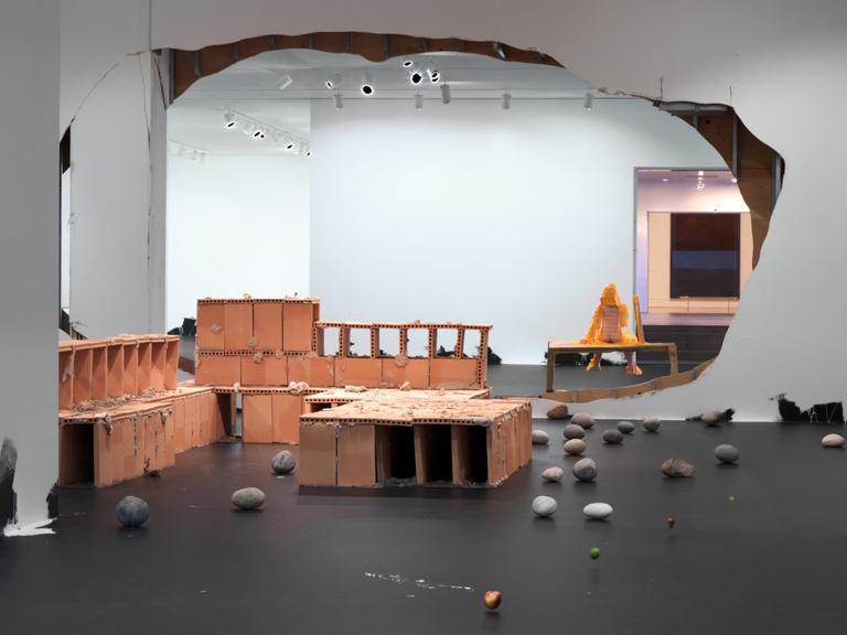 Untitled (50 Rocks); Skelett; Untitled (Suspended Line of Fruit); Portrait of a Single Raindrop; Untitled (Nude on a Table): Untitled (Floor Piece) 2013