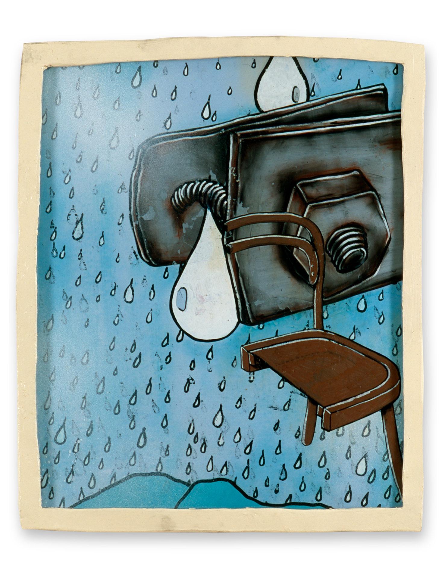 Portrait of a single raindrop