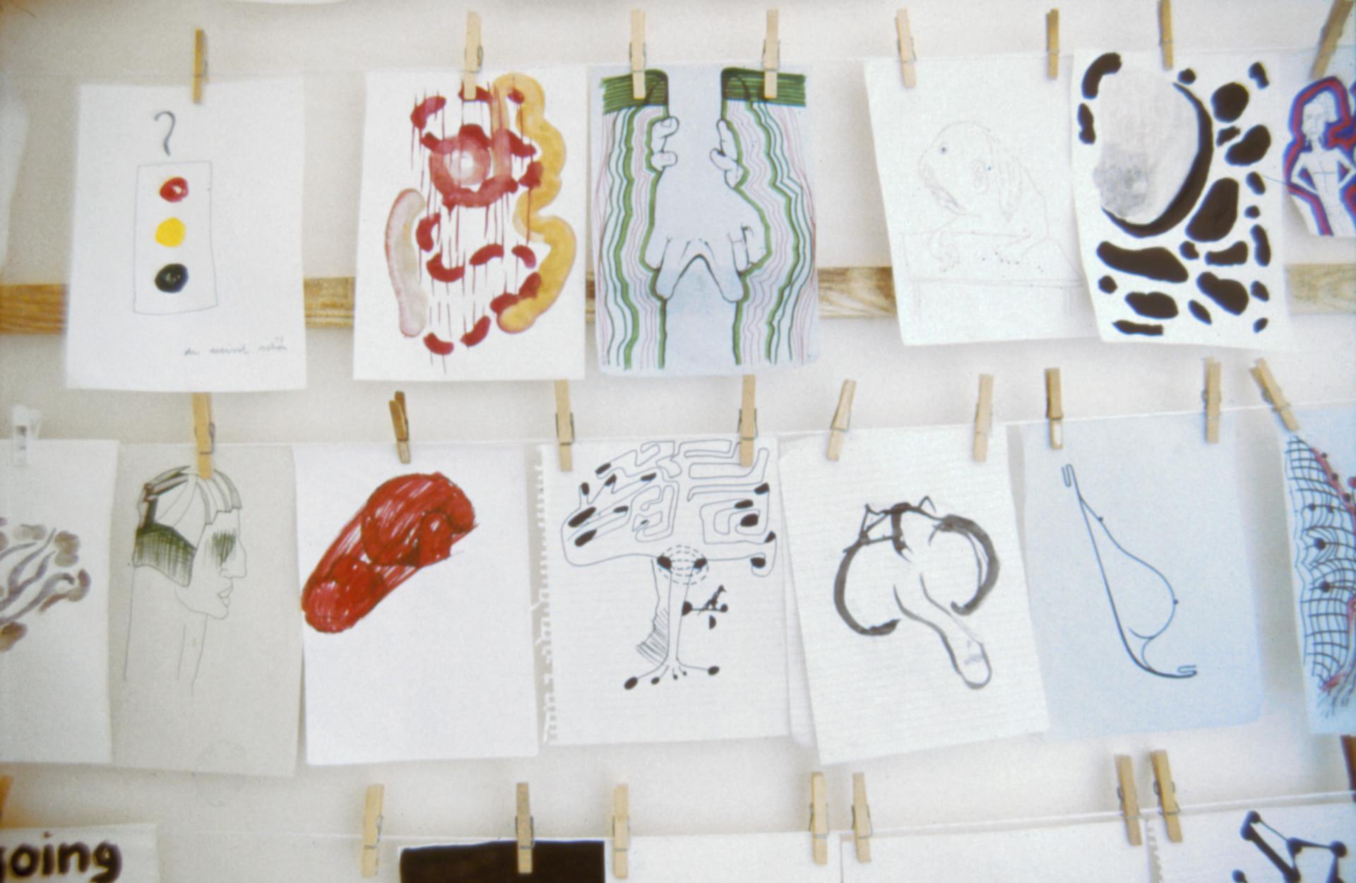 "Various drawings, from ""Frs Uischer,"" Galerie Walcheturm, Zurich: 1996"