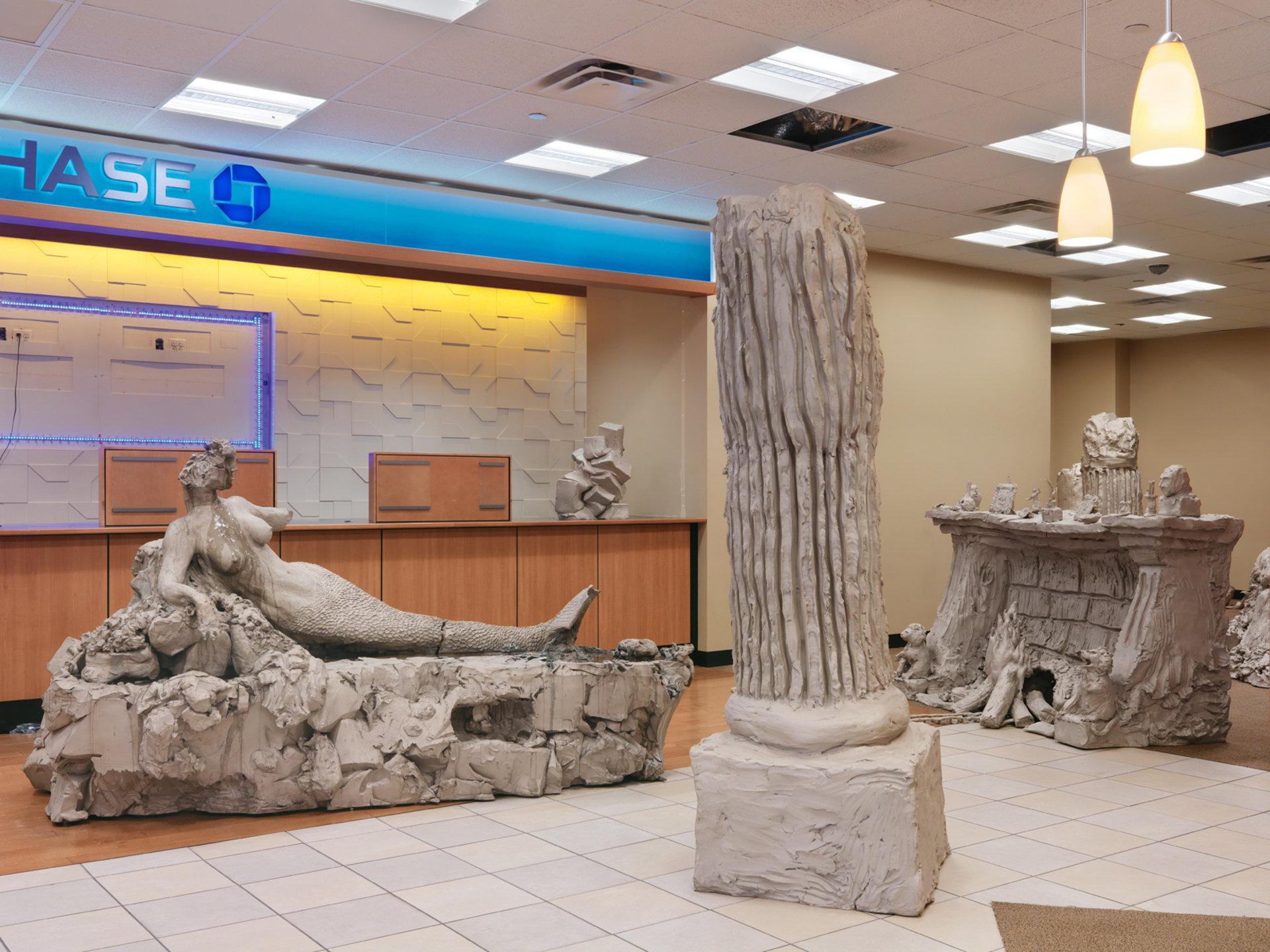 mermaid; pile; column one; fireplace